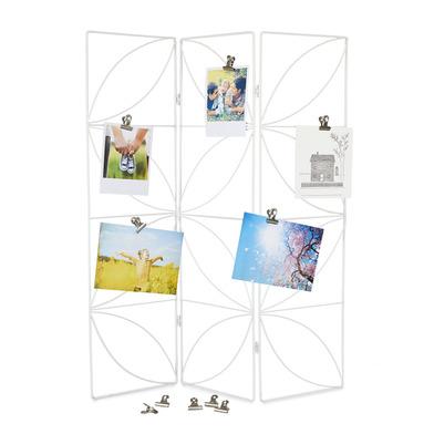 alvi Sujeta fotos Biombo Color blanco marco sujeta fotos en forma de biombo Diseño bonito y elegante