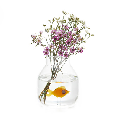 alvi Vaso Atlantis Colore ambra Vaso con base allargata con all'interno pesciolino di vetro Vaso dec
