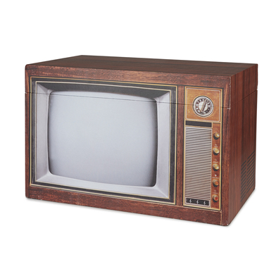 alvi Storage box Vintage Brown colour Container storage original and beautiful old shaped TV MDF woo