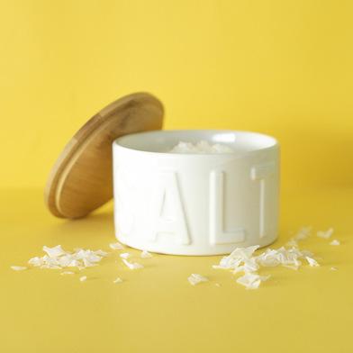 Balvi Barattolo sale in scaglie Salt Colore bianca Con tappo Bamboo/ceramica