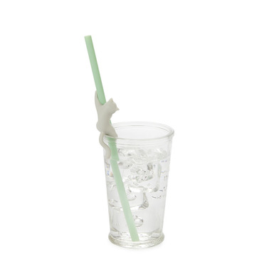 alvi Reusable straw set Climber Cat Green colour Ecological accessory for drinks Brush and cover inc