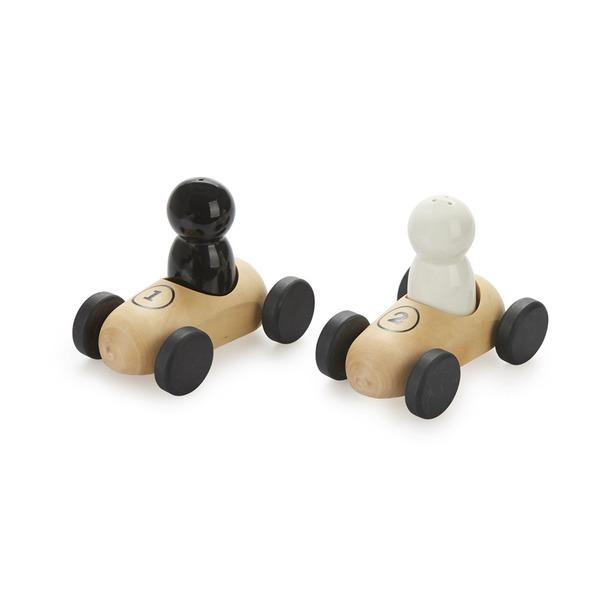 alvi Set sal & pimienta Bolides Conjunto de salero y pimentero con bases de madera en forma de coche