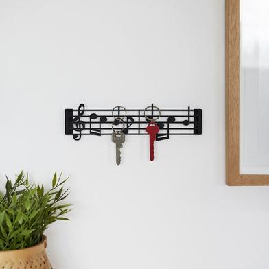 alvi Colgador para llaves Musik Color negro En forma de partitura musical en clave de sol Incluye to