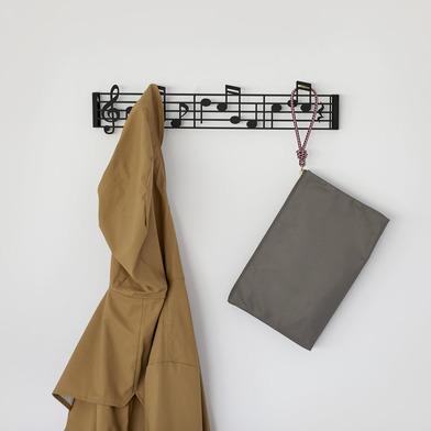 alvi Colgador pared Musik Color negro En forma de partitura musical en clave de sol Incluye tornillo