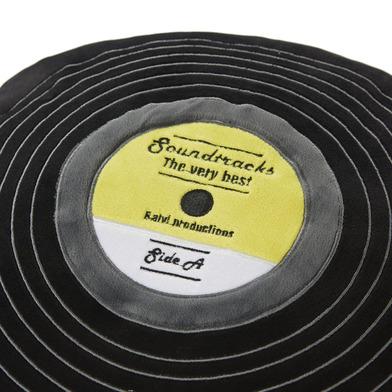alvi Cuscino Soundtracks Colore nero Cuscino a forma di disco in vinile Dettagli ricamati Poliestere
