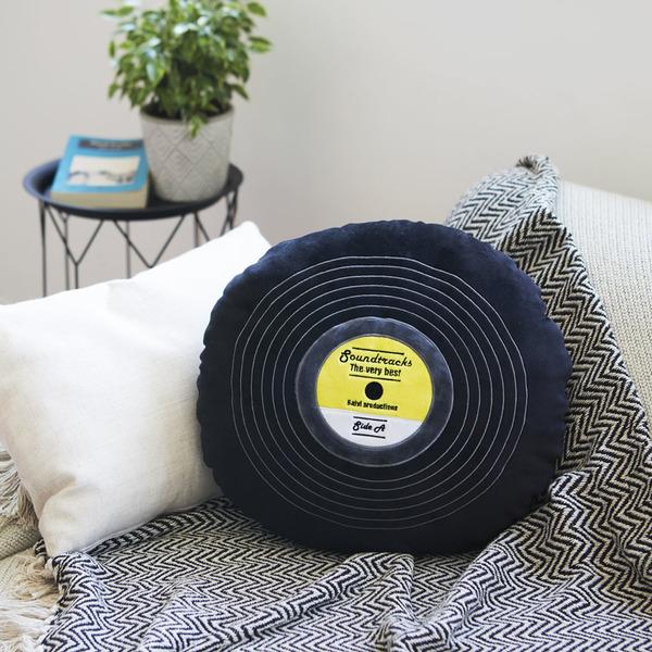 alvi Cojín Soundtracks Color negro En forma de disco de vinilo Con detalles bordados Poliéster 37 cm