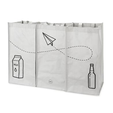 alvi Set borse riciclaggio Tidy Trash Colore Grigio Realizzato in plastica riciclata Set di 3 unità