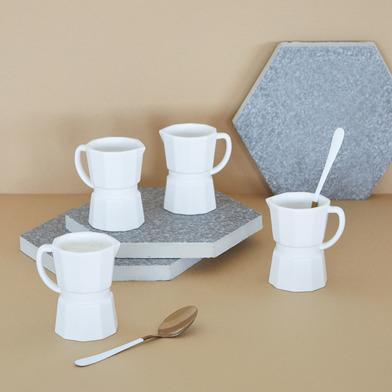alvi Set tazas espresso Moka Color blanco mate Conjunto de 4 tazas de café en forma de cafetera ital
