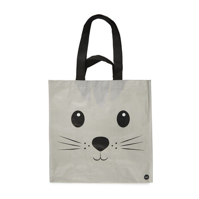 alvi Shopping bag Kitty Gray colour With pocket and two kind of handles Cat design Recycled plastic