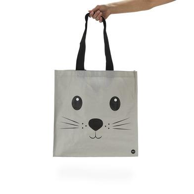 alvi Bolsa compra Kitty Color gris Con bolsillo interior y dos tamaños de asas Diseño de gato Plásti