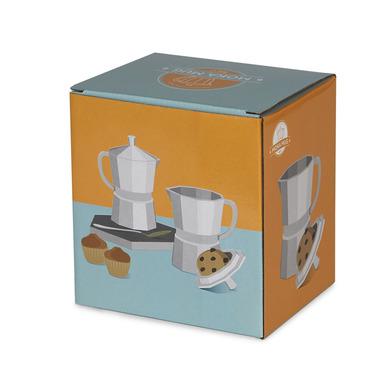 alvi Mug Moka Color blanco mate Taza grande con tapa En forma de cafetera italiana 350 ml Cerámica 1