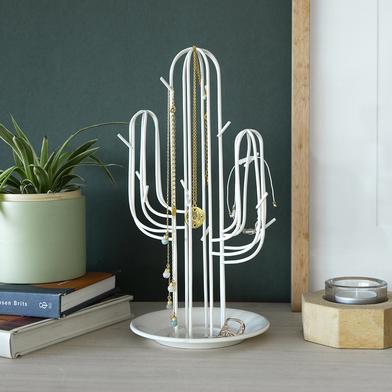 alvi Soporte joyas Cactus Color blanco Con forma de cactos Ideal para pulseras, collares y anillos M