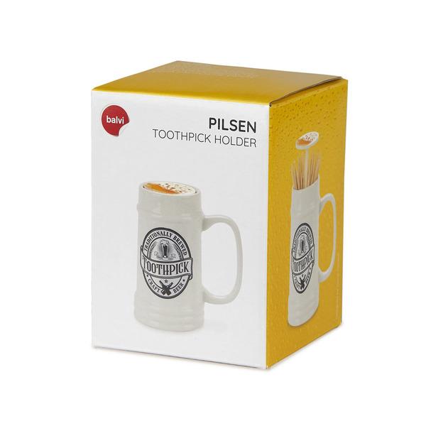 alvi Palillero Pilsen Dispensador de palillos en forma de jarra de cerveza Cerámica/plástico/silicon
