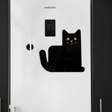 alvi Pizarra nevera magnética Meow Color negro Soporte de Planificación ideal para recordatorios, li