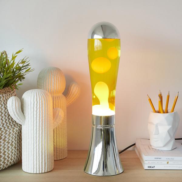 Balvi Lámpara lava Magma Color plateado/amarillo Objeo de decoración Tamaño XL Aluminio/vidrio 45cm
