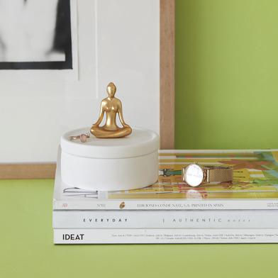 alvi Portagioie Yoga Colore Bianco e dorato Scatola in ceramica per gioielli con coperchio decorativ