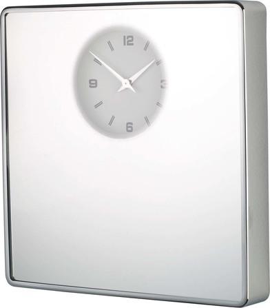 Balvi - Reloj pared espejo cuadrada cromado 1xAA