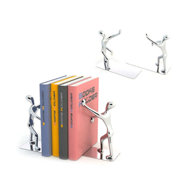 Balvi Bookend Shadow Chrome Plated colour Set of 2 bookends Zinc