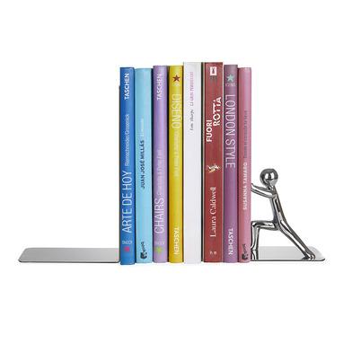 Balvi Sujeta libros Push! Color cromado Conjunto de 2 piezas Inox/zinc