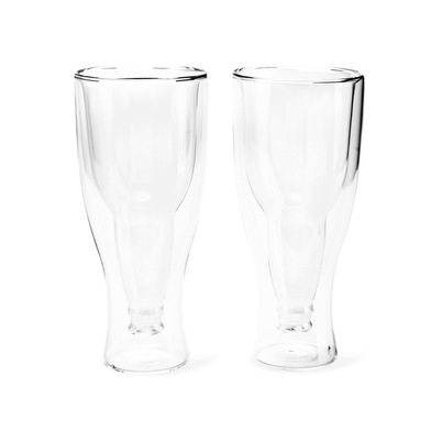 alvi Vaso cerveza Gravity Set de 2 vasos de 400 ml Doble pared Mantiene el frio Forma de botella del