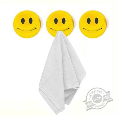 Balvi Colgador trapo cocina Smile Set de 3 colgadores Adhesivo 3M Forma de emoticono Plástico