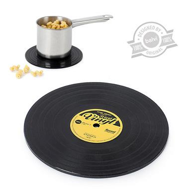 Balvi Salvamanteles The Coasters Color negro En forma de disco de vinilo Silicona 15 cm