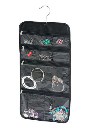 alvi Organizador joyas Kangaroo Travel Color negro Joyero de viaje Con colgador Plegable Lona/ Plást