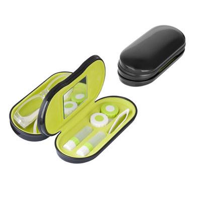 Balvi - Twin estuche para gafas y lentillas negro con espejo incorporado
