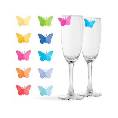 alvi Marca copas Drink Wings Set de 10 unidades Marcacopas o marcavasos Ideal para reuniones, fiesta