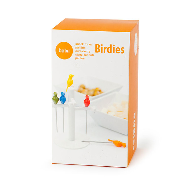Balvi Snack fork Birdies 6 forks or metal sticks Shaped bird and 1tree shaped base ABS plastic