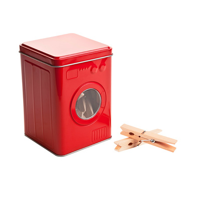 Balvi Clothes pegs box Lavadora Red colour 24 wooden pegs Lid hinge Tin box shaped Washing machine