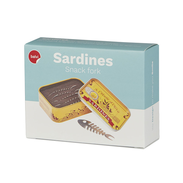 alvi - Sardines set of 6 snack forks in the shape of a fishbone and presented in a sardines tin of v