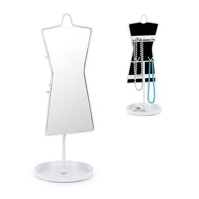 Balvi Espejo sobremesa y soporte de joyas Sissi Color blanco Con 8 ganchos en la parte posterior