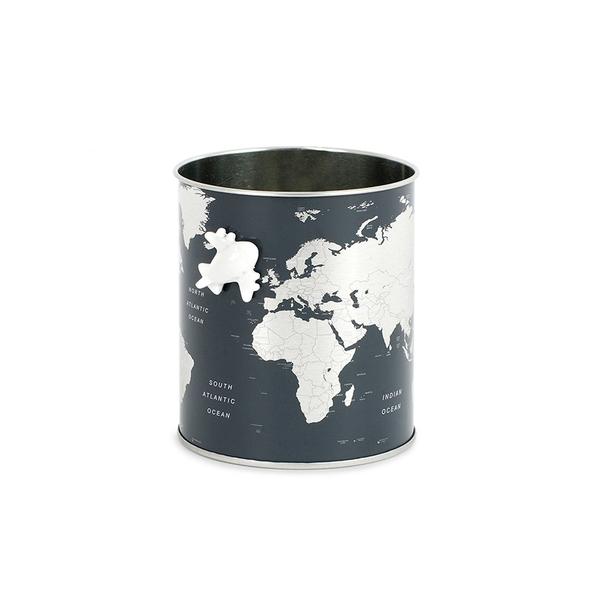 alvi Portalápices Globe Color gris Diseño mapa del mundo, incluye avión magnético Lata 10x8,5x8,5 cm