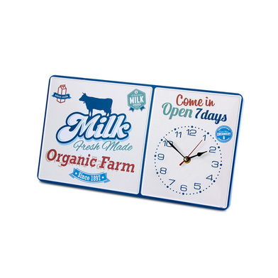 Balvi - Reloj pared Milk rectangular metal 1xAA