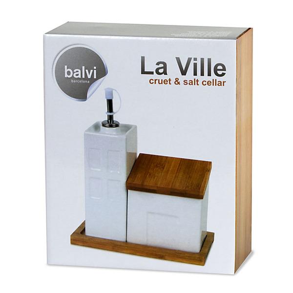 Balvi - La Ville aceitera & salero de cocina en cerámica y bambú
