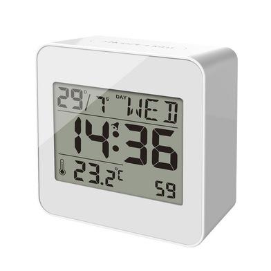 alvi Despertador Block Color blanco reloj despertador digital, con temperatura, días de la semana y