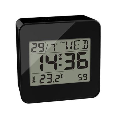 alvi Despertador Block Color negro reloj despertador digital, con temperatura, días de la semana y h