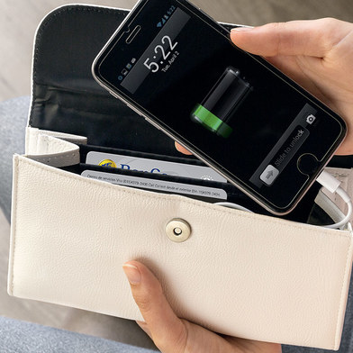 alvi Purse & Power bank Energy White colour It includes a power bank inside Battery laptop and bag 2